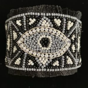Jewelry - UNIQUE Beaded Greek Evil Eye Cuff Bracelet